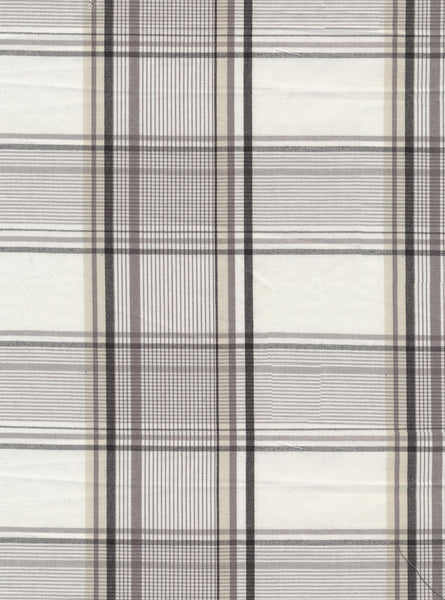100% Cotton White/Grey Colour Medium Checks