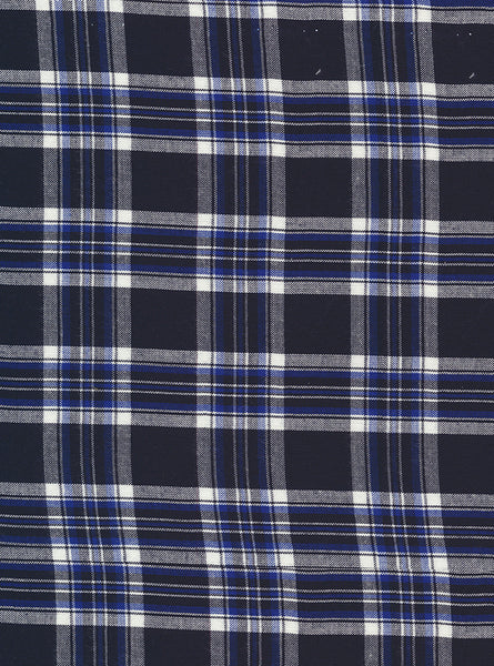 100% Viscose Navy/White Colour Medium Checks