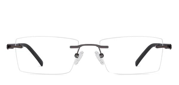Rimless eyeglasses-Rectangle-Brown-EG