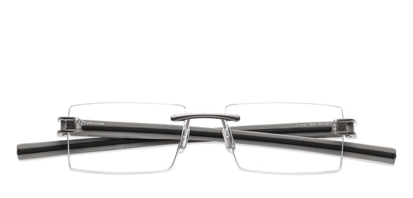 Rimless eyeglasses-Rectangle-Black Red-EG
