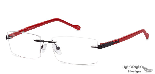 Rimless eyeglasses-Rectangle-Red-EG
