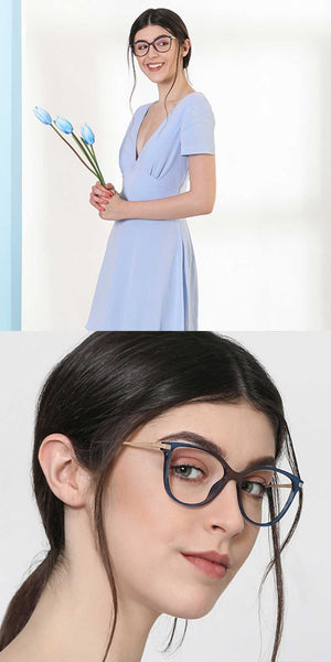 Cateye Eyeglasses-Cat Eye-Blue-EG