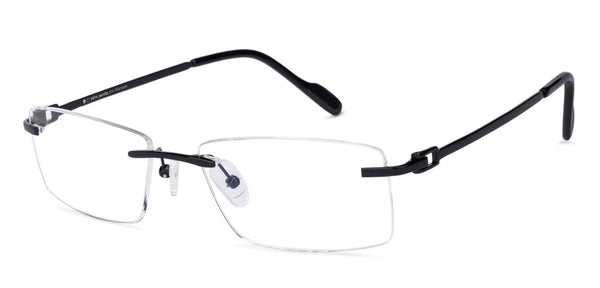 Rimless eyeglasses-Rectangle-Black-EG
