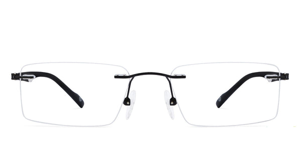 Rimless eyeglasses-Rectangle-Gunmetal Black-EG
