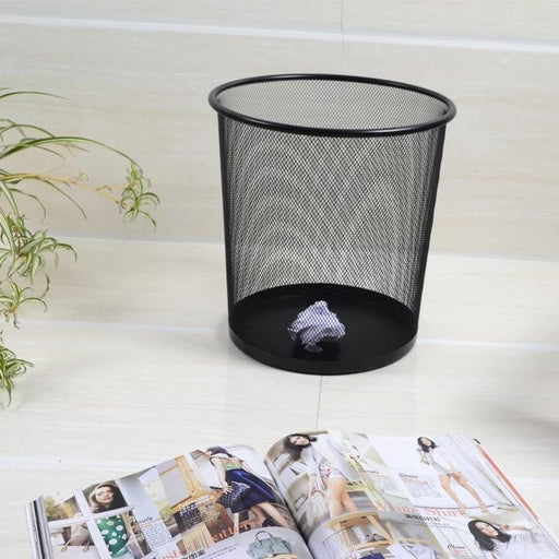 Modeco Black Wire Mesh Round Waste Paper Basket 23L in High Finish (Large)