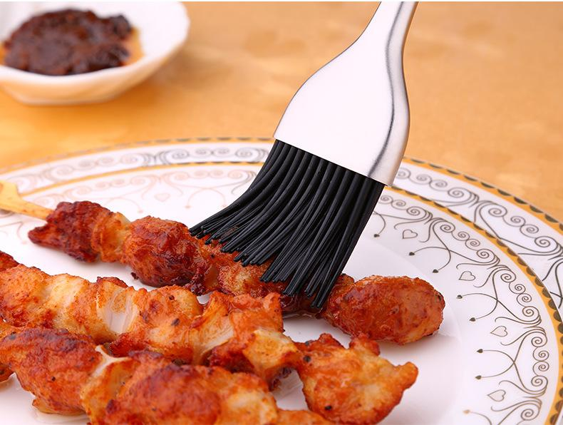 Chef's SUS304 Stainless Steel BBQ Basting Brush With Food Grade Silicone Brush & Long Handle, HippoMart - HippoMart.SG - Premium Item at Direct Factory Price