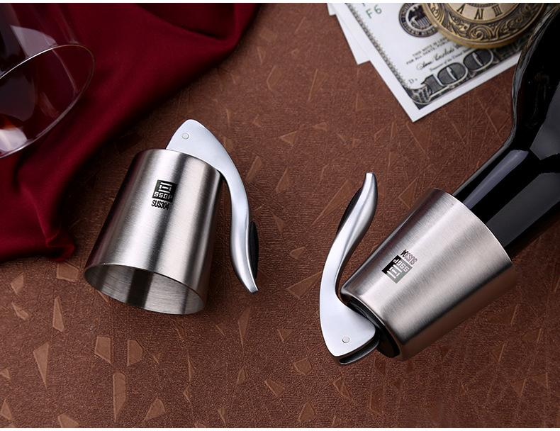 Sommelier Bottle Stopper for Wine/Sparkling Wine/Champagne in SUS304 Brushed Stainless Steel, HippoMart - HippoMart.SG - Premium Item at Direct Factory Price