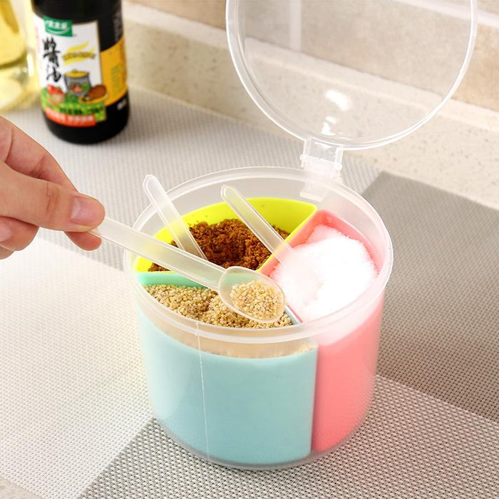 Triple Section Condiments Round Container with Lid and Handle, HippoMart  - HippoMart.SG - Premium Item at Direct Factory Price