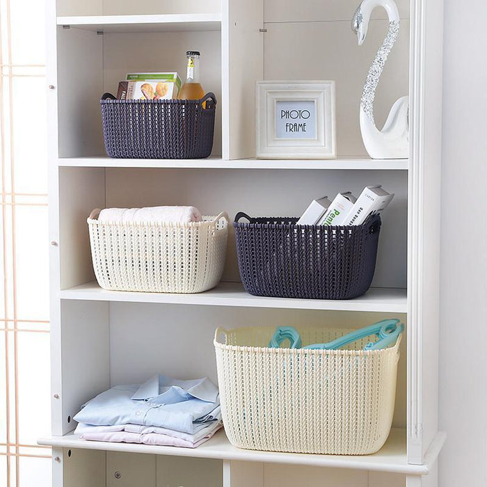 Plastic Weaving Rattan Designer Basket with Slim Handle - Grey, HippoMart - HippoMart.SG - Premium Item at Direct Factory Price