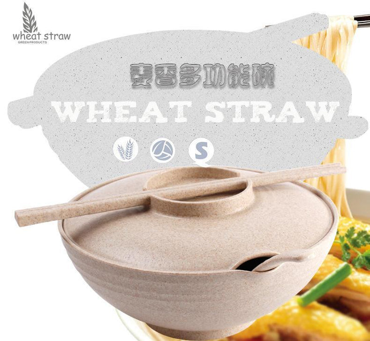 Eco-Friendly Wheat Straw Soup & Noodle Bowl with Lid, Spoon and Chopstick - Beige, Hippomart - HippoMart.SG - Premium Item at Direct Factory Price