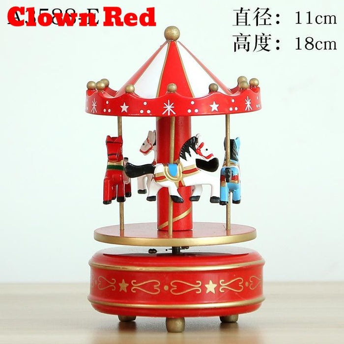 Handcrafted U0026 Hand Painted Tabletop Musical Wooden Horse Carousel Decor    Clown Red, Hippomart