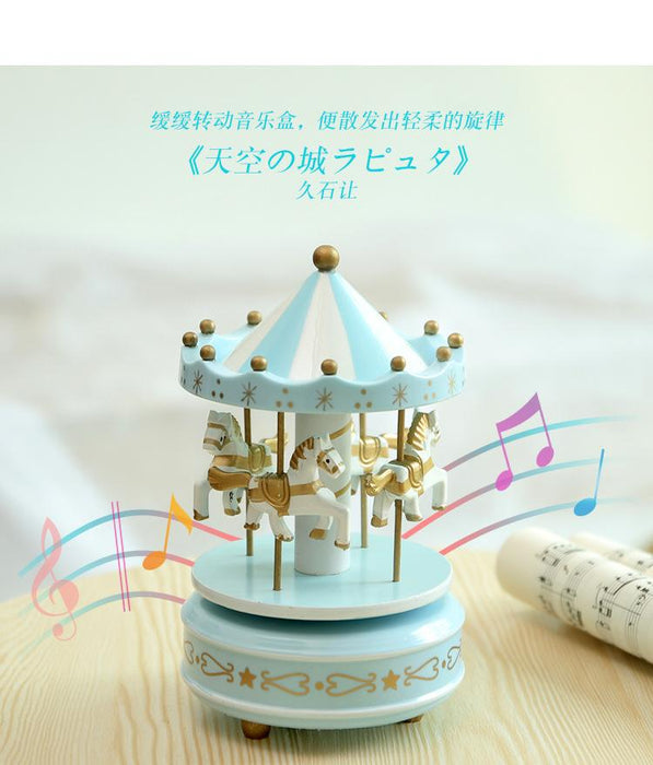 Handcrafted U0026 Hand Painted Tabletop Musical Wooden Horse Carousel Decor    Sky Blue, Hippomart