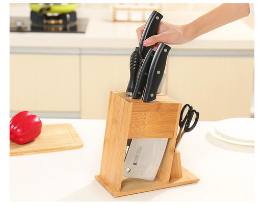 Anti-Bacterial Bamboo Knife & Scissors 7 Slot Block (Knives not included), HippoMart  - HippoMart.SG - Premium Item at Direct Factory Price