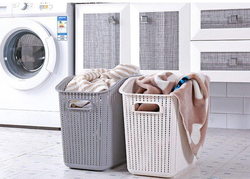 Weaving Rattan Well Ventilated Stackable Laundry Basket with Long Handle - Beige, Hippomart - HippoMart.SG - Premium Item at Direct Factory Price