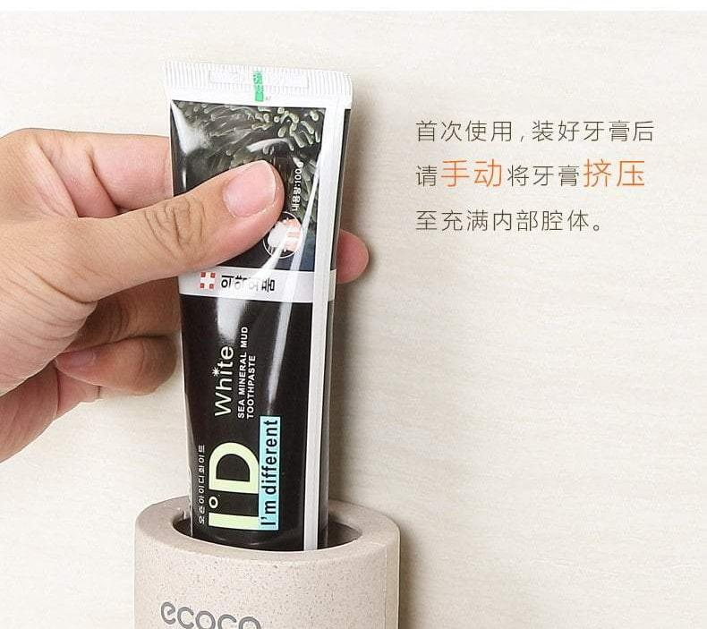 Ecoco Tooth Paste Dispenser with Suction Wall Cup, Hippomart - HippoMart.SG - Premium Item at Direct Factory Price