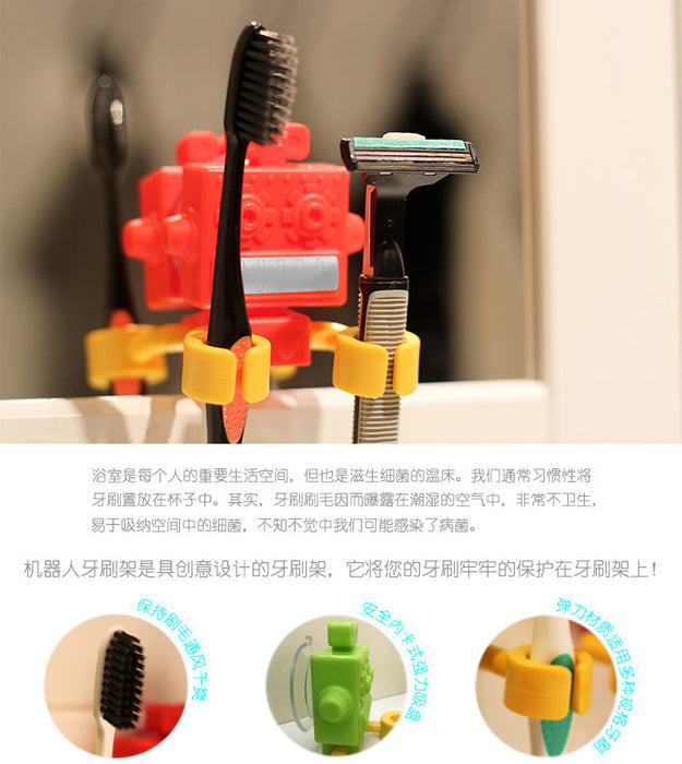 Multi-functional Silicone Robot Toothbrush Holder/Pen Holder with Suction Cup