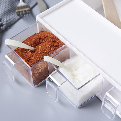 2 in 1 Kitchen Countertop Spices Compartment & Storage Rack - White, Hippomart - HippoMart.SG - Premium Item at Direct Factory Price