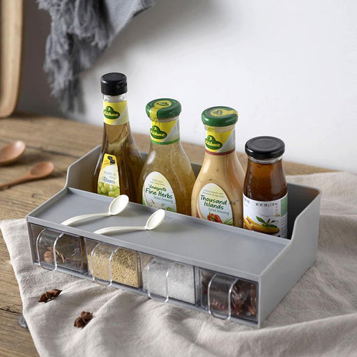 2 in 1 Kitchen Countertop Spices Compartment & Storage Rack - Grey, Hippomart - HippoMart.SG - Premium Item at Direct Factory Price