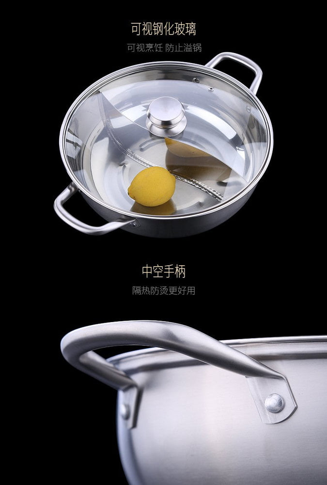SUS304 Stainless Steel Professional Yuan Yang (Dual Soup Base) Hot Pot with Lid for 4 pax - 30cm, Hippomart - HippoMart.SG - Premium Item at Direct Factory Price
