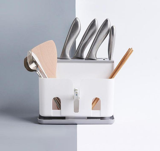 Cutlery Drying & Organising ABS Plastic Caddy with Drainage - White, Hippomart - HippoMart.SG - Premium Item at Direct Factory Price