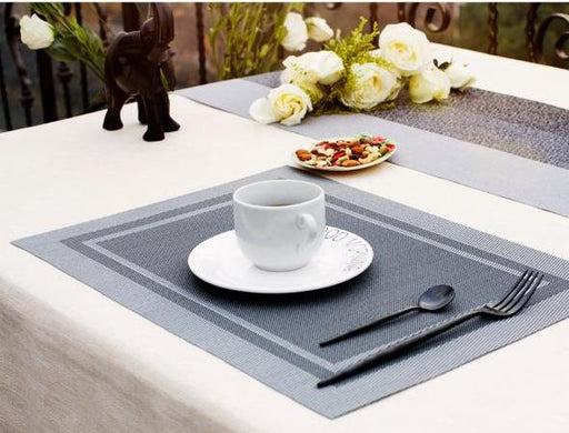 Heat-resistant Set of 6 PVC Square Design Woven Placemats Stain Resistant Anti-skid - Lux Silver, Hippomart - HippoMart.SG - Premium Item at Direct Factory Price