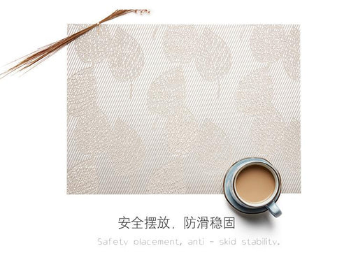 Heat-resistant Set of 6 PVC Leaf Design Woven Placemats Stain Resistant Anti-skid - Lux Silver, Hippomart - HippoMart.SG - Premium Item at Direct Factory Price