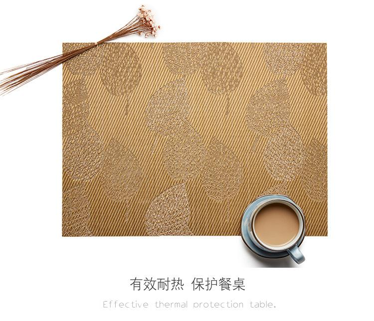 Heat-resistant Set of 6 PVC Leaf Design Woven Placemats Stain Resistant Anti-skid - Lux Gold, Hippomart - HippoMart.SG - Premium Item at Direct Factory Price