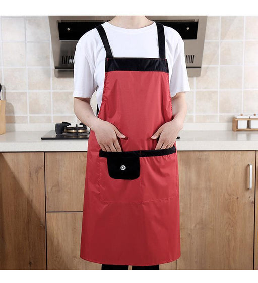 Japan Import Style Waterproof Apron with Pocket - Red, HippoMart - HippoMart.SG - Premium Item at Direct Factory Price