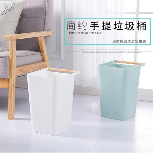 Modeco Porter Designer Waste Paper Basket with Wooden Handle