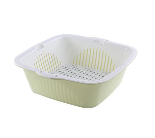 Basic Fruits & Vegetable Square Washing Basket Set - Green (Medium)