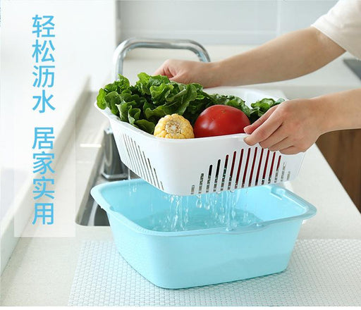 Basic Fruits & Vegetable Square Washing Basket Set - Blue (Medium)