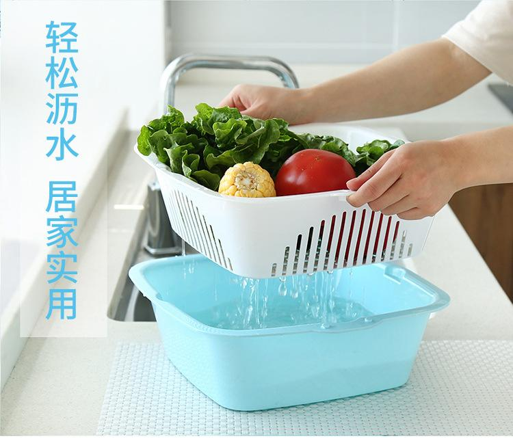 Basic Fruits & Vegetable Square Washing Basket Set - Blue (Medium), HippoMart  - HippoMart.SG - Premium Item at Direct Factory Price