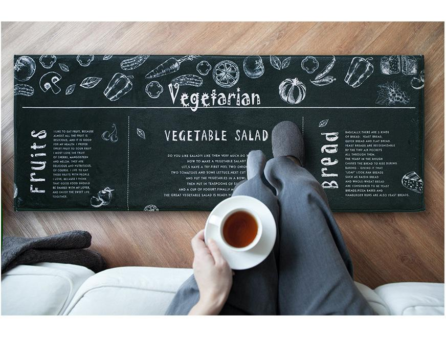 "Zakka Flannel Long ""VEGETARIAN"" Floor Mat"