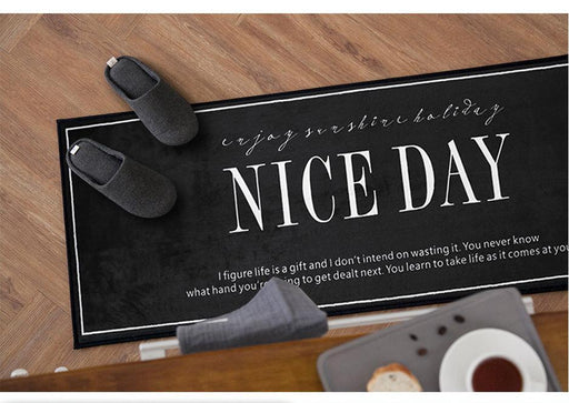 "Zakka Flannel Long ""NICE DAYS"" Floor Mat, HippoMart - HippoMart.SG - Premium Item at Direct Factory Price"