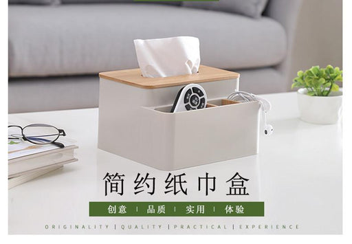 Natural Wooden Cover Tissue Storage - 3 Compartments