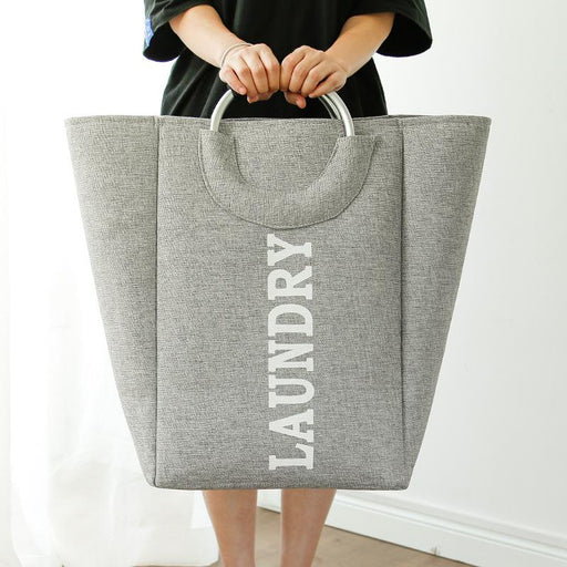 Large Portable & Collapsible Waterproof Fabric Laundry Bag - Grey
