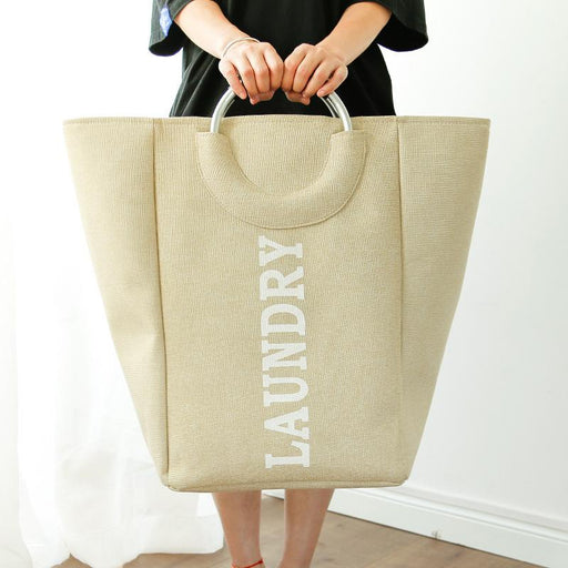 Large Portable & Collapsible Waterproof Fabric Laundry Bag - Beige