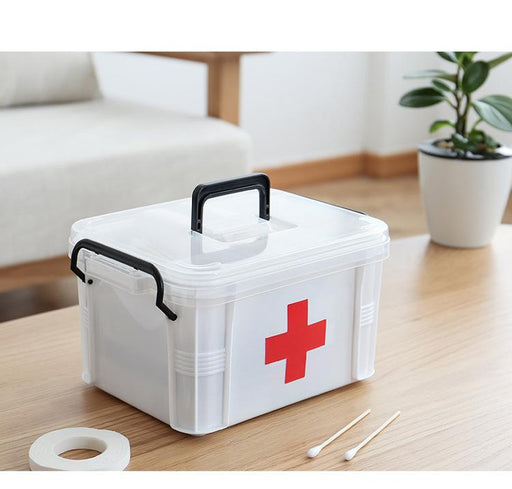 Basic First Aid Box with 2 Layer Compartment, HippoMart  - HippoMart.SG - Premium Item at Direct Factory Price