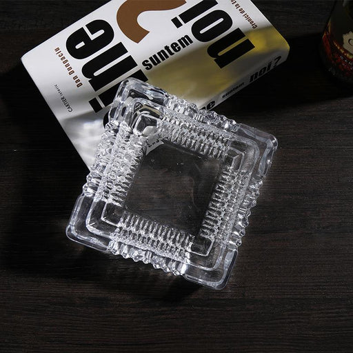 Large Vintage Glass Ash Tray Square Cut, HippoMart  - HippoMart.SG - Premium Item at Direct Factory Price