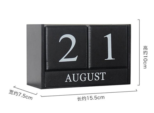 Handcrafted Wood Block Perpetual Month, Date & Day Tile Calendar Decor - Black