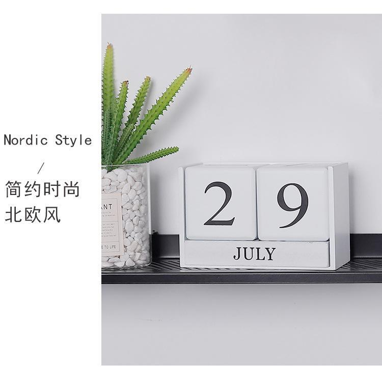 Handcrafted Wood Block Perpetual Month, Date & Day Tile Calendar Decor - White, Hippomart - HippoMart.SG - Premium Item at Direct Factory Price