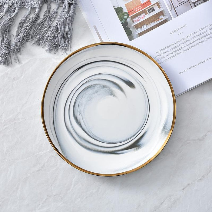 Jamison HandCrafted Ceramic Marble Plate with Gold Trim 25cm - Grey, HippoMart - HippoMart.SG - Premium Item at Direct Factory Price