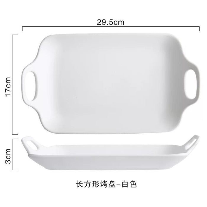 Jamison Handcrafted Ceramic Rectangular Serving Plate - White, HippoMart  - HippoMart.SG - Premium Item at Direct Factory Price