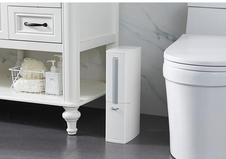 Modeco 3 in 1 Japanese Sanitary Bin with Toilet Brush Holder & Sanitary Bag Dispenser - White, HippoMart - HippoMart.SG - Premium Item at Direct Factory Price