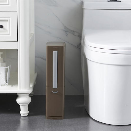 Modeco 3 in 1 Japanese Sanitary Bin with Toilet Brush Holder & Sanitary Bag Dispenser - Coffee Brown