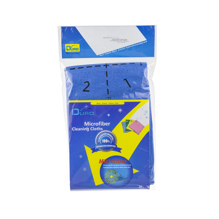 Duro Professional 4 Side Indicator Microfiber Cleaning Cloths - Blue, HippoMart.sg - HippoMart.SG - Premium Item at Direct Factory Price