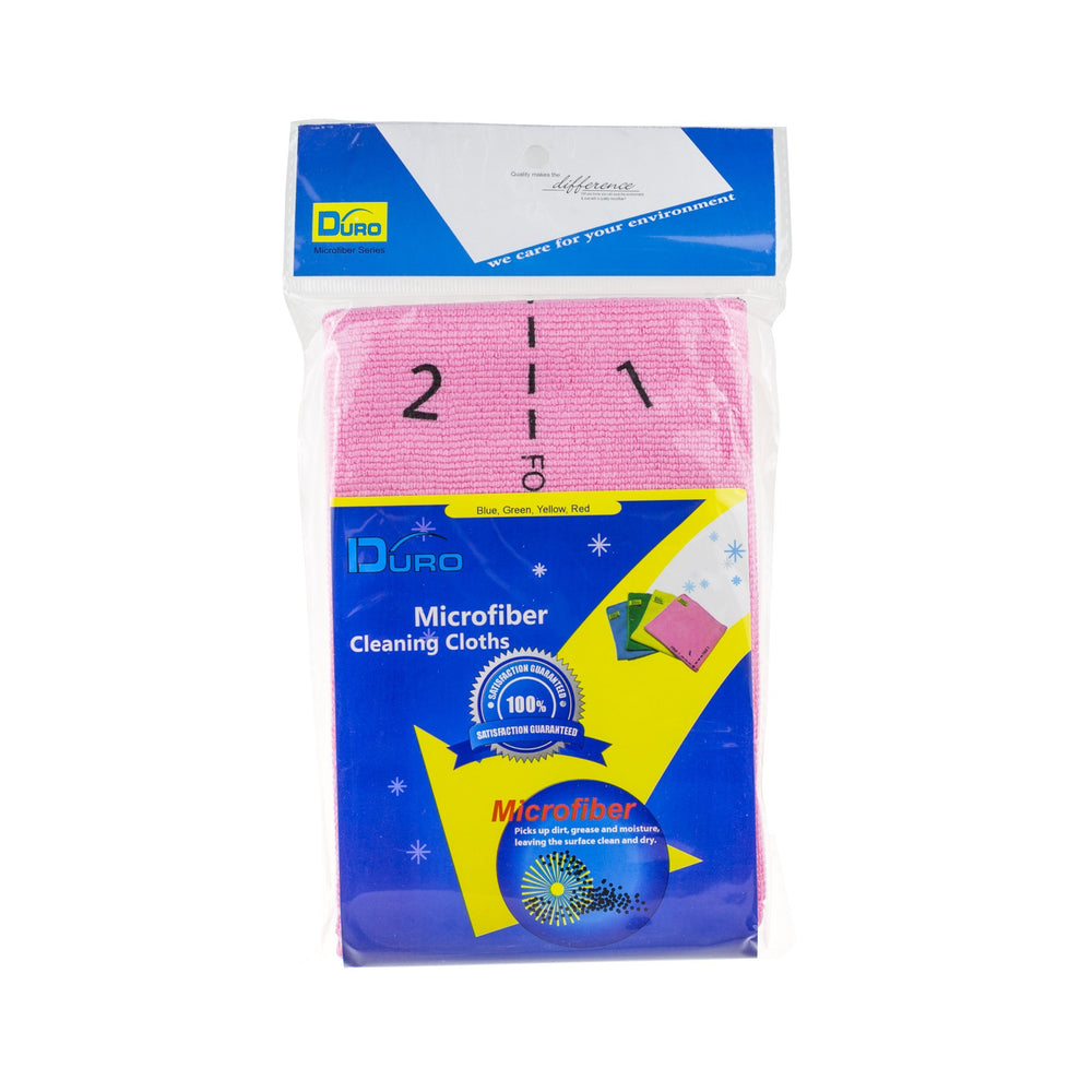 Duro Professional 4 Side Indicator Microfiber Cleaning Cloths - Pink