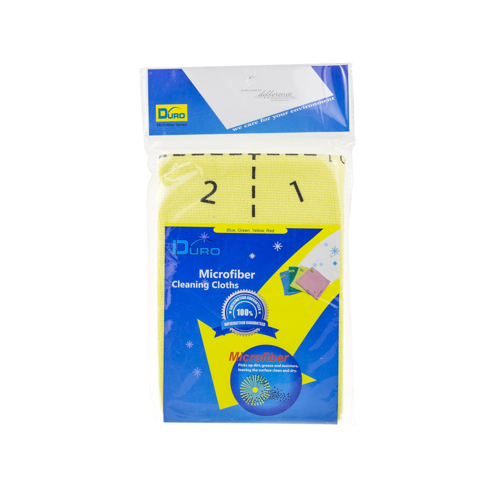 Duro Professional 4 Side Indicator Microfiber Cleaning Cloths - Yellow, HippoMart - HippoMart.SG - Premium Item at Direct Factory Price