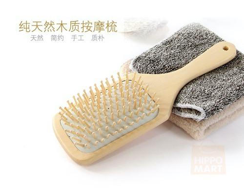 Handcrafted Natural Wooden Paddle Non-Static Hair Brush for All Hair Types with Ball Tipped Bamboo Bristle For Detangling Hair and Scalp Massage, Hippomart - HippoMart.SG - Premium Item at Direct Factory Price