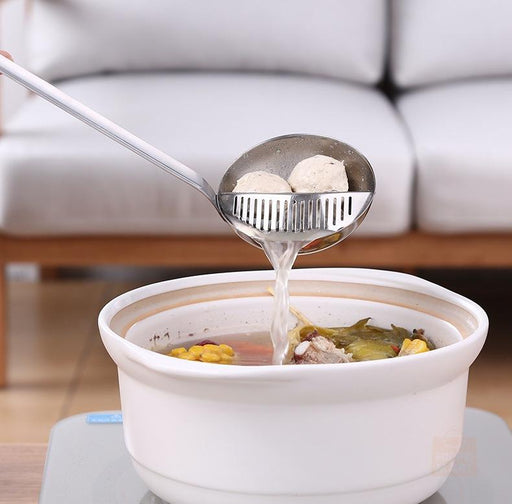 Chef's Straining Soup Ladle with Removable Strainer in SUS304 Stainless Steel